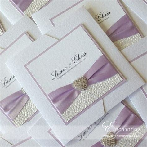 lilac pocketfold wedding invitations featuring pebble
