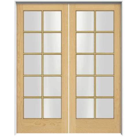 home depot interior french doors jeld wen woodgrain 10 lite unfinished pine prehung