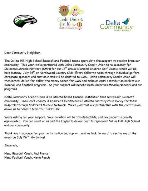 Sponsorship Letter Youth Baseball You Letter Exle On Youth Baseball Sponsor