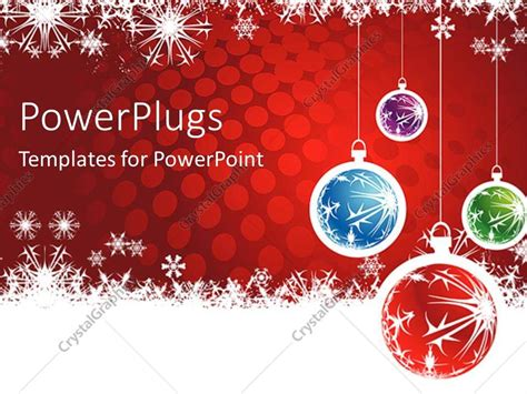 powerpoint template christmas theme with four red blue