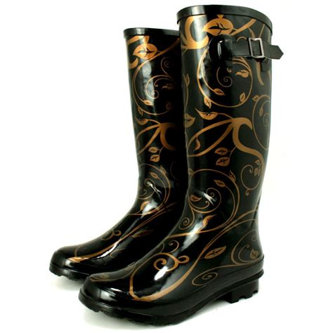 buy womens gold wellies wellingtons flat boots
