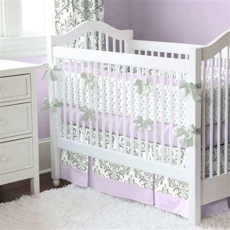 lilac bedding lilac and gray traditions damask nursery collection baby