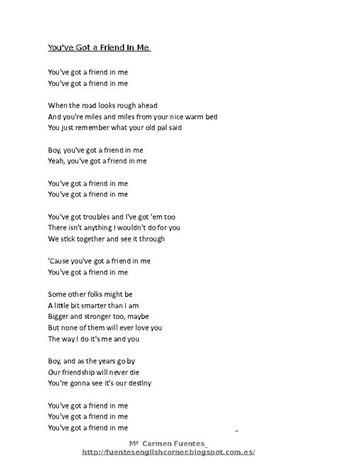 song for a friend song worksheet you ve got a friend in me by randy newman