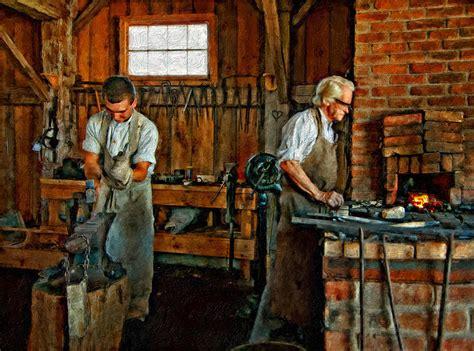 Blacksmith Home Decor blacksmith and apprentice impasto photograph by steve