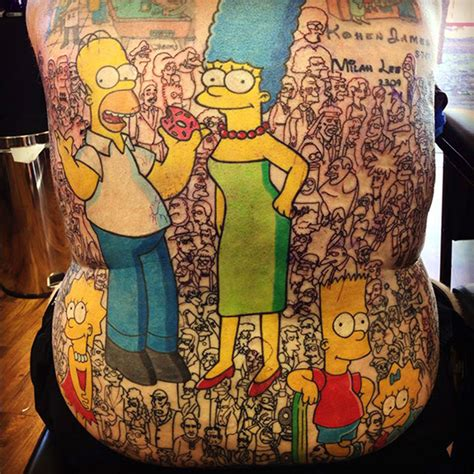 cartoon world tattoo holy moly this simpsons tattoo will blow your mind nerdist