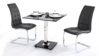 2 Seater Dining Table Set 2 Seater Black Glass Dining Table And Chairs Homegenies