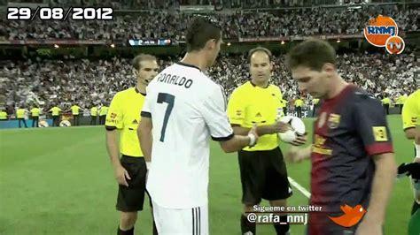 fotos comicas barcelona messi y cristiano ronaldo no se saludan supercopa 2012 hd