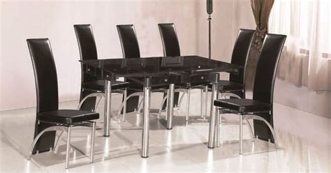 Extending Black Glass Dining Table And 6 Chairs Set Black Extending Glass Dining Table And With 4 6 8 Faux Leather Chairs Chrome Leg Ebay