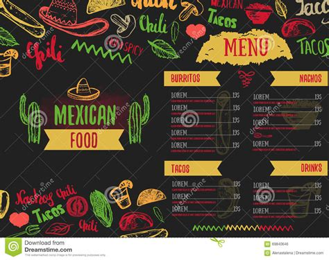 vintage mexican food menu with lettering stock vector