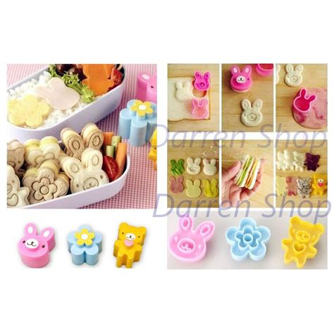 Up Cetakan Roti Beruang Bread Mold Cetakan Bento jual rabbit flower 3pcs in set sandwich