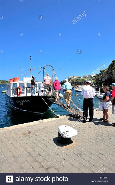 glass bottom boat es castell cales fonts harbour stock photos cales fonts harbour