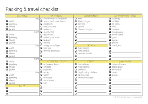 printable travel checklist packing list pdf free printable packing and travel checklist the