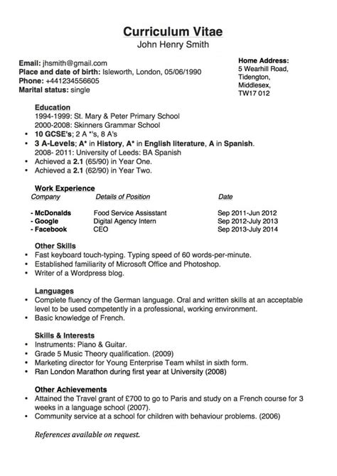 Template Cover Letter For Cv Uk by Simple Chronological Cv For The Uk Joblers