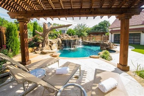pool pergola ideas stylish wooden pergola with comfortable lazy chairs using traditional swimming pool design for