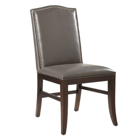 maison leather dining chair with brown legs grey