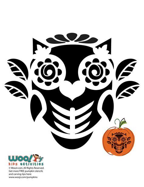 day of the dead pumpkin template dia de los muertos owl stencil for pumpkins woo jr