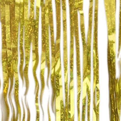 holographic tinsel icicle garland gold