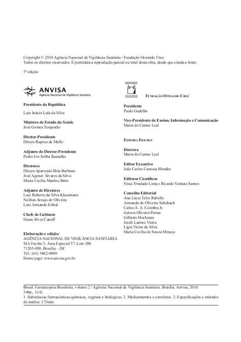 Farmacopéia brasileira 5ª edição volume 1