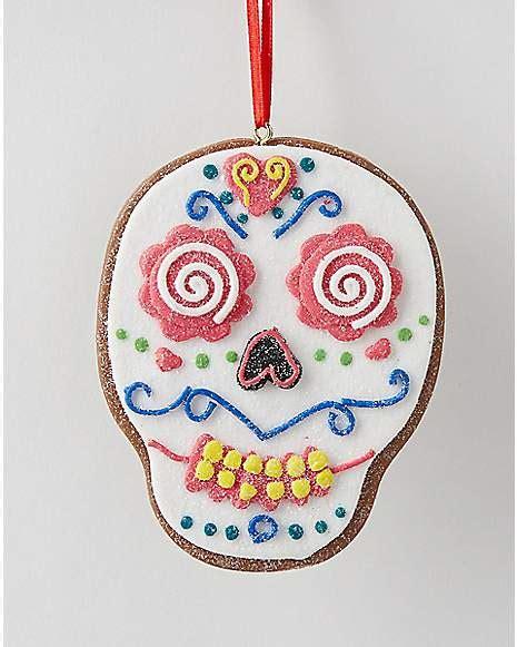 sugar clay ornaments clay dough white sugar skull ornament spencer s