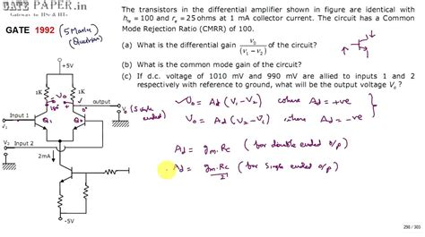 bjt transistor gain formula gate 1992 ece differential mode and common mode gain of bjt differential lifire