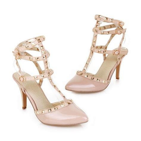 Studded Strappy Pointy Pumps jy shoes studded strappy pointy pumps yesstyle