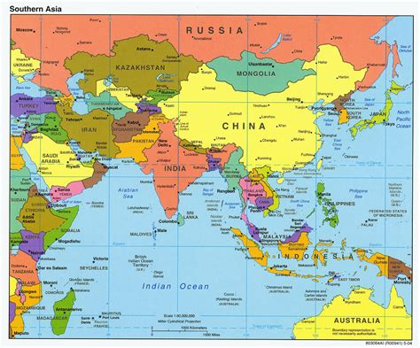 political map of asia with capitals detailed political map of southern asia with capitals and
