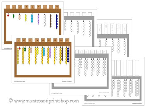 montessori printable files hanging bead stair extension sheets printable montessori