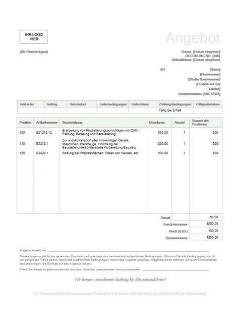 Angebot Muster Unterhaltsreinigung offerte vorlage schweiz kostenlos muster vorlage ch
