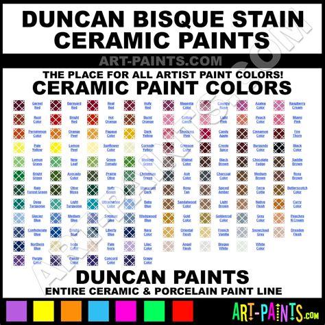bisque color chart duncan bisque stain ceramic porcelain paint colors