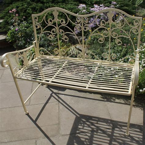 metal garden seats and benches cream metal ornate garden bench seat patio furniture ebay