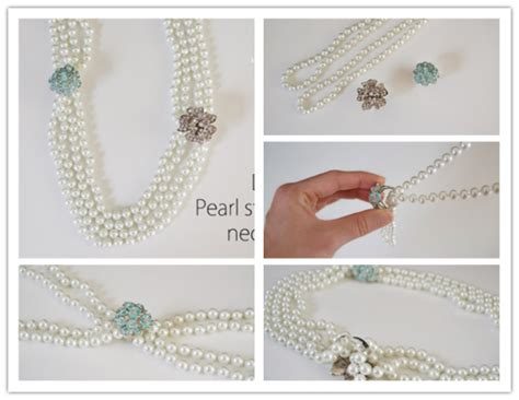 Artificial Flower Home Decor how to make pretty diy pearl statement necklace step by