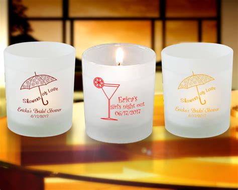 Candle Giveaways - bridal shower personalized frosted candle favors