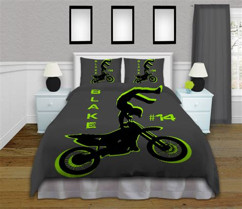 personalized motocross green and gray motocross boy comforter set kids