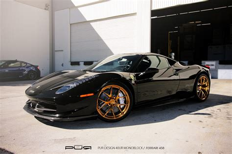 ferrari 458 black black ferrari 458 italia with pur 4our monoblock wheels