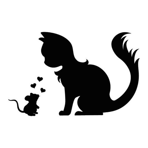 tattoo black cat silhouette cute wall tattoo mouse and cat in love silhouette
