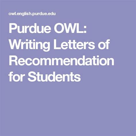 Purdue Letters Of Recommendation