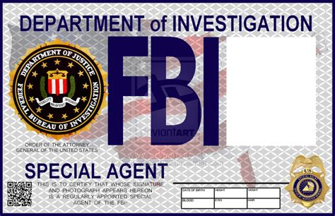 fbi id template custom card template 187 fbi id card template free card