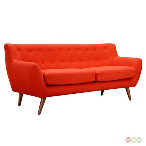 orange tufted sofa ida modern orange button tufted upholstered sofa with