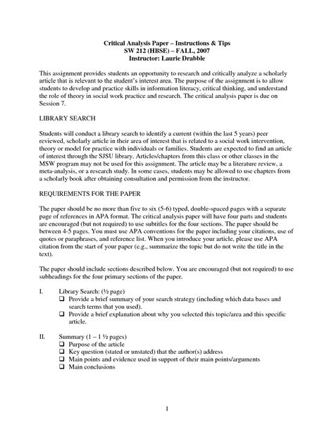 Analysis Essay Sle literary analysis sle essay 28 images apa style