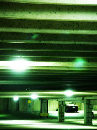 subterranian parking parking garage garage light green