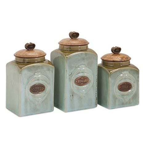 4 piece country store kitchen ceramic canister set teal and copper addison ceramic canister set of three