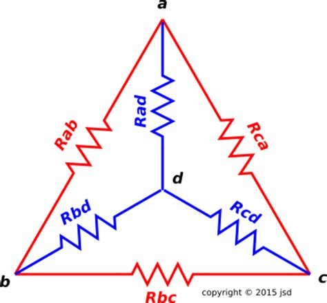 resistors triangle circuits tetrahedral resistor network with broken symmetry