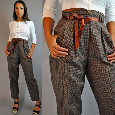 Baggy Grey Pleats 80s vintage high waisted plaid trousers pleated front
