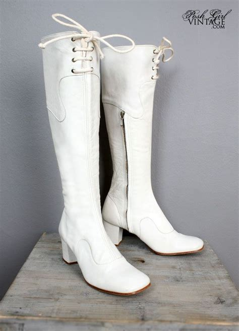 white go go boots 1960 s white leather vintage go go boots 60 s