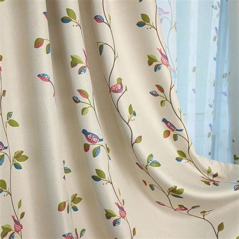 bird drapes beautiful and country style leaf print curtains with cute