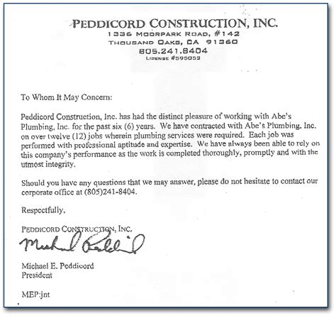 Letter Of Recommendation Letter For Commercial Plumber Los Angeles Abes Plumbing Inc