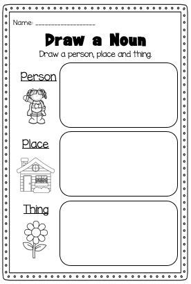 define doodle noun nouns printable worksheet pack kindergarten second