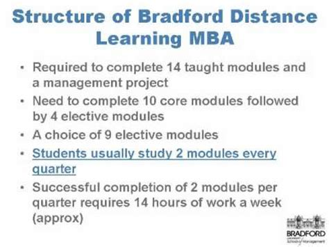 Of Bradford School Of Management Mba by The Structure Of The Distance Learning Mba Bradford