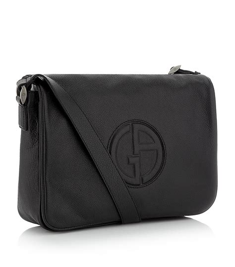 lyst giorgio armani logo messenger bag in black for