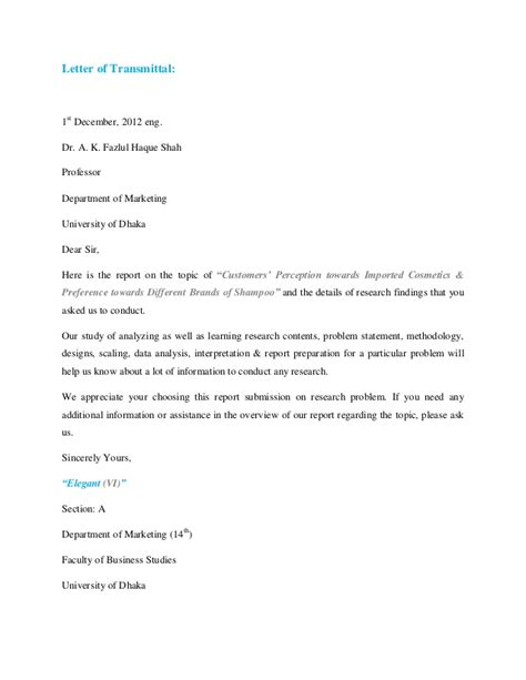 Sle Of Letter Of Permission For Research Marketing Research Report Vi
